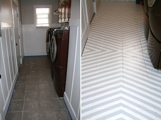 How To Paint Tile Floors: A Tutorial On Love Stitched U2013 Erika Put A Base  Coat Of White Paint On Her Laundry Room Floors And Then She Created A  Gorgeous ...