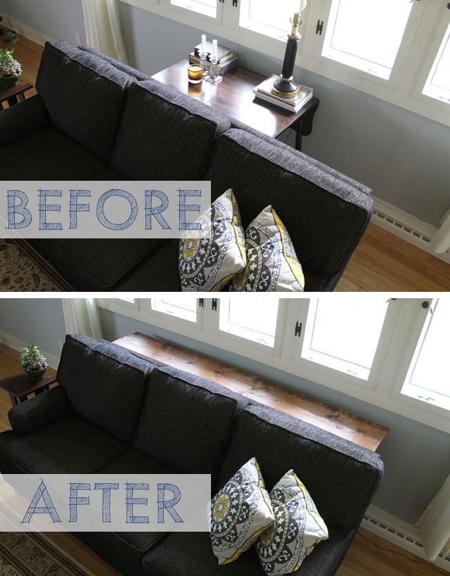 Before: a vintage table that didn't really fit behind the sofa; After: a DIY console table