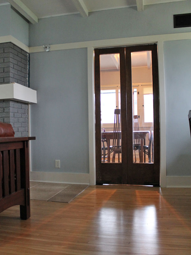 the original dining room doors are re-installed at the Delbert Meier House