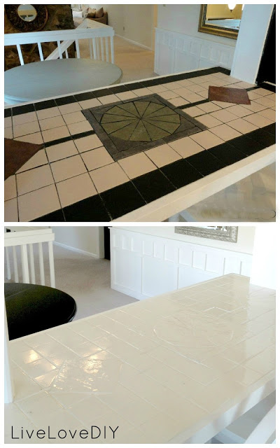 before and after tile paint