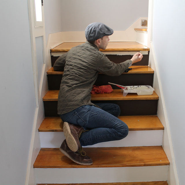 painting stair risers white