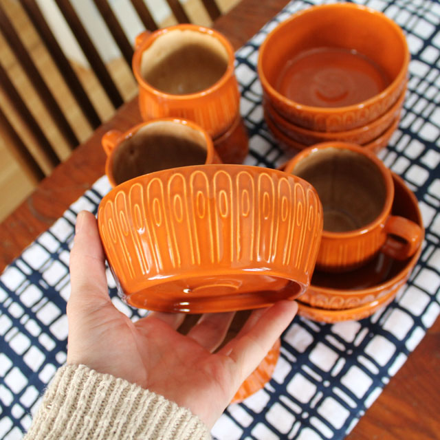 handcrafted dishware from the 1970's