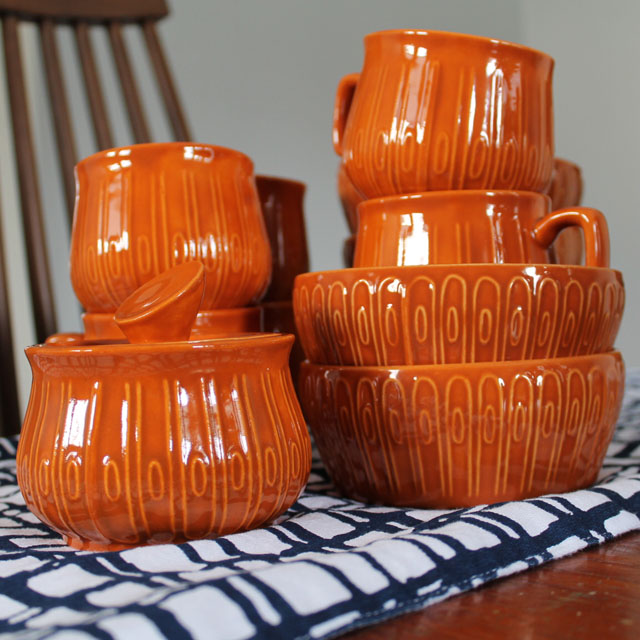 Set of amateur ceramic dishes