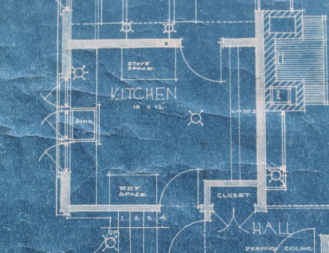 American System Built home blueprint - kitchen floor plan