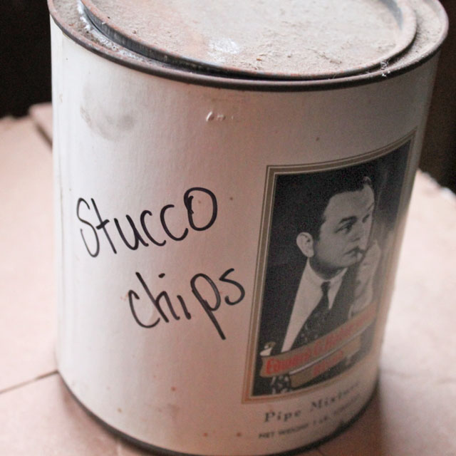 A can of stucco chips found in the garage of our American System Built Home.