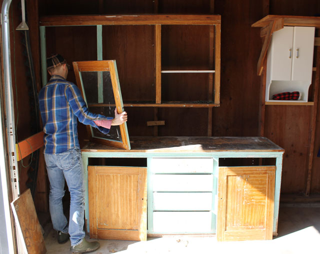 the original kitchen cabinets for our Frank Lloyd Wright designed American System-Built home