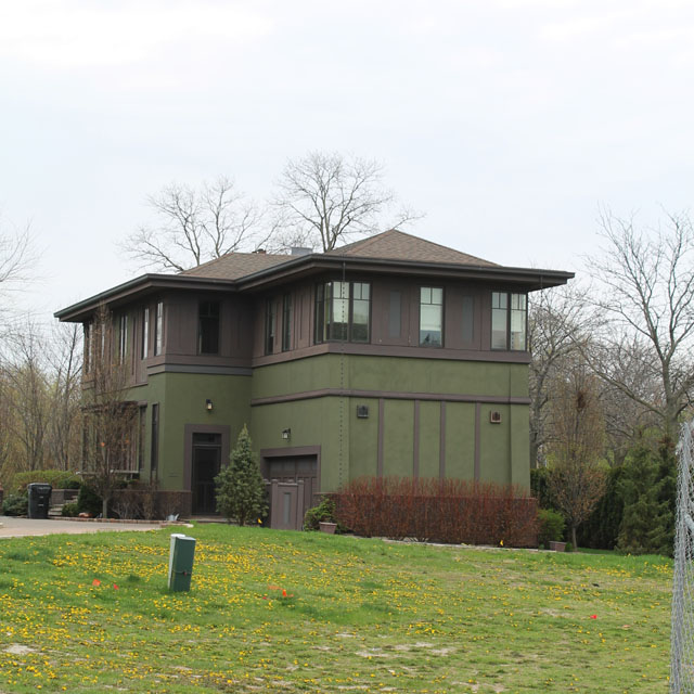 a Prairie style house at the corner of Dempster and Ridge in Evanston, IL